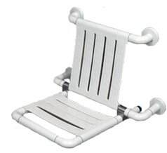 Nylon Wall Mounted Foldable Shower Seat with Backrest Image