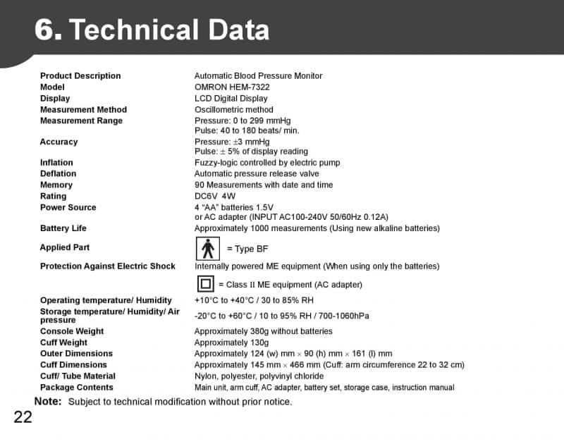 Omron HEM-7322 Upper Arm Blood Pressure Monitor - Technical Data