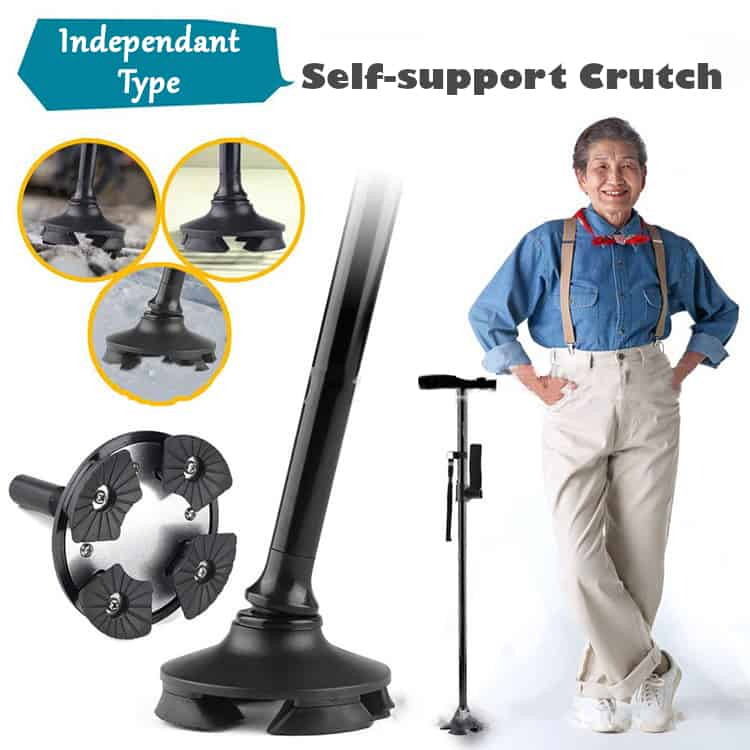 FOLDABLE HIGH RISE WALKING STICK with BUILD IN LED - Self-support Crutch