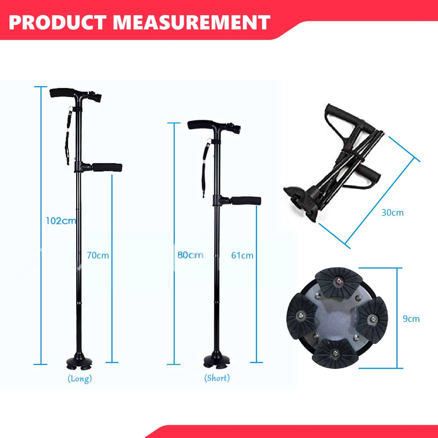 High Rise Walking Stick with Build-in LED - Demo Measurement