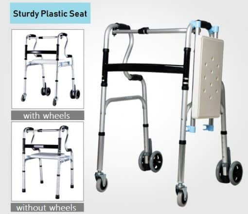 Walking Frame with Seat -Interchangeable Wheels